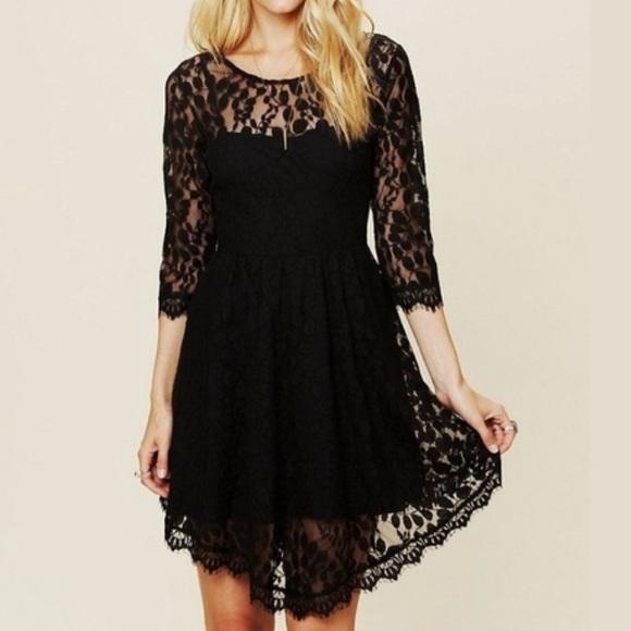 Sale Free People Black Lace Dress